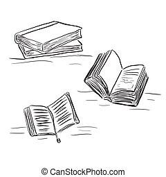 vetorial, esboço, livros, estilo