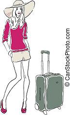 vetorial, esboço, saco, mulher, moda