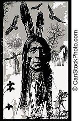 vetorial, esboço, sentando, -, indianas, guerreira, touro, retrato, freehand
