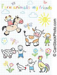 vetorial, esboços, feliz, crianças, e, cultive animais
