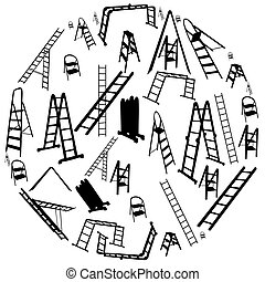 vetorial, escada, jogo, illustration., silhouette.