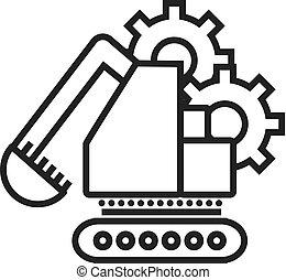vetorial, escavador, golpes, editable, ilustração, sinal, fundo, ícone, linha