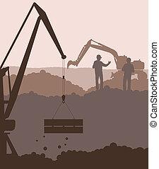 vetorial, escavador, local, carregador, guindaste construção