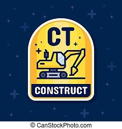 vetorial, escavador, serviço, banner., ilustração, construção, emblema