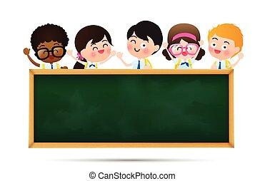 vetorial, escola, conceito, eps10, fundo, espaço, sobre, costas, ilustração, uniforme, atrás de, crianças, pretas, tábua, estudante, branca, educação, caricatura, cópia, feliz