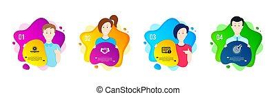 vetorial, escolha objectivos, negócio, não, mão, sol, empregados, uv, proteja, aperto mão, fatos, ícones, information., sinal., importante, set.