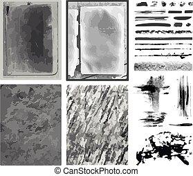 vetorial, escovas, linhas, texturas, &