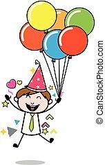 vetorial, escritório, -, ilustração, celebrando, aniversário, empregado, partido, vendedor, caricatura