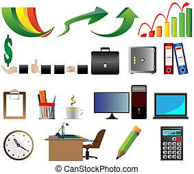 vetorial, escritório negócio, ícones