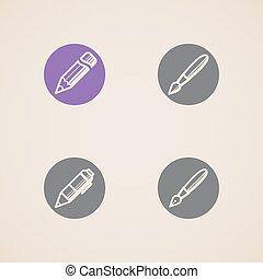 vetorial, escrita, ferramentas, desenho, ícones