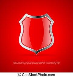 vetorial, escudo, lustroso, proteção, ícone