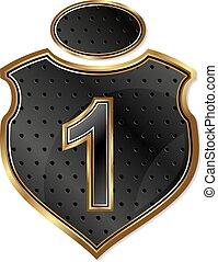 vetorial, escudo, número