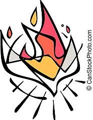 vetorial, espírito sagrado, ilustração