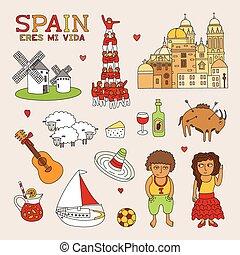 vetorial, espanha, doodle, arte, para, viagem turismo