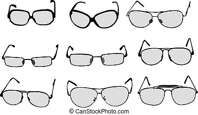 vetorial, espetáculos, óculos