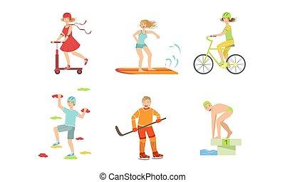 vetorial, esportes, hóquei, surfboarder, ciclista, tipos, escalador, jogo, nadador, montando, diferente, pessoas, pontapé, ilustração, jogador, scooter, menina