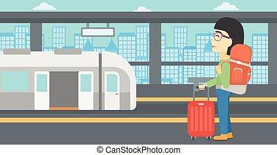 vetorial, estação, trem, mulher, illustration.