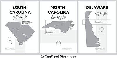 vetorial, estados, divisão, 17, delaware, altamente, mapas, atlântico, carolina sul, cartazes, silhuetas, -, 9, detalhado, jogo, américa do norte