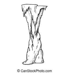 vetorial, estalactite, elemento decorativo, tinta, túnel