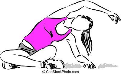 vetorial, esticar mulher, ilustração, condicão física