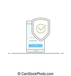 vetorial, estilo, conceito, escudo, telefone, móvel, malware., imagem, security., isolado, ilustração, marca, experiência., proteção, vírus, contra, verde branco, cheque, linear