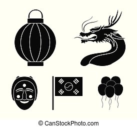 vetorial, estilo, jogo, ícones, bandeira nacional, web., tatra.south, rosto, dragão, máscara, coréia, pretas, ilustração, despede-respirar, cobrança, lanterna, coreano, símbolo, sul, estoque