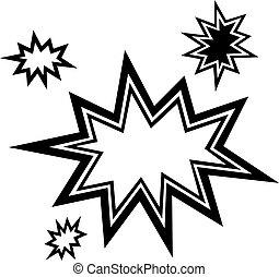vetorial, estourar, estrela