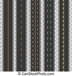 vetorial, estrada, arte moderna, asfalto, highways., direito, repetitivo, seamless, ilustração, isolado, experiência., rua, desenho, rodovia, estradas, horizontais, criativo, transparente, element.