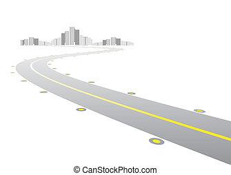 vetorial, -, estrada, chumbos, para, cidade