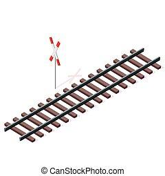 vetorial, estrada ferro, em, isometric, 3d, perspectiva,...