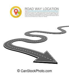 vetorial, estrada, seta, localização, fundo, caminho, estrada, pavimentado