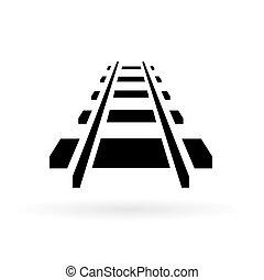 vetorial, estrada, trilho, locomotiva, ack, estrada ferro, ícone, trem, desenho, ilustração, estrada ferro