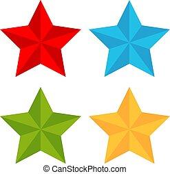 vetorial, estrela, coloridos, ícone