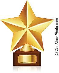 vetorial, estrela, ouro, distinção