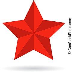 vetorial, estrela, vermelho, ícone