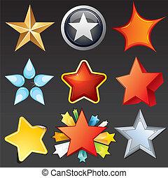 vetorial, estrelas