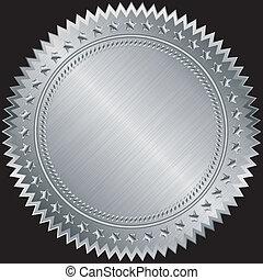 vetorial, etiqueta, prata, em branco