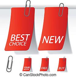 vetorial, etiquetas, com, paperclip