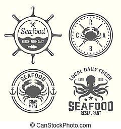 vetorial, etiquetas, emblemas, marisco, vindima, emblemas