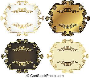 vetorial, etiquetas, gold-framed