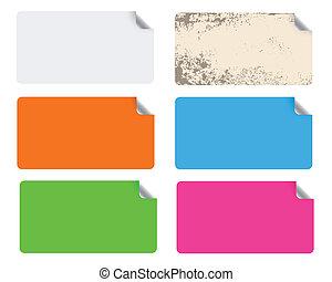vetorial, etiquetas, ilustração, coloridos