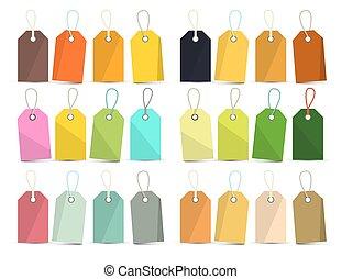 vetorial, etiquetas, set., coloridos, vazio, etiquetas, isolado, branco, experiência.