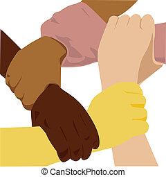 vetorial, etnicidade, mão