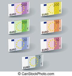 vetorial, euro, papel, conta, notas, com, sombras