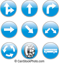 vetorial, europeu, sinais tráfego, com, detalhes