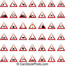 vetorial, europeu, sinais tráfego