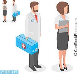 vetorial, exame médico ilustração, trabalhadores, ligado, um, branca, experiência.