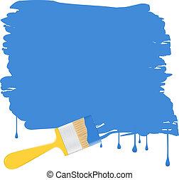 vetorial, experiência azul, com, amarela, pincel