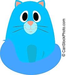 vetorial, experiência., azul, ilustração, gato, branca