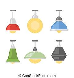 vetorial, experiência., branca, jogo, lâmpadas